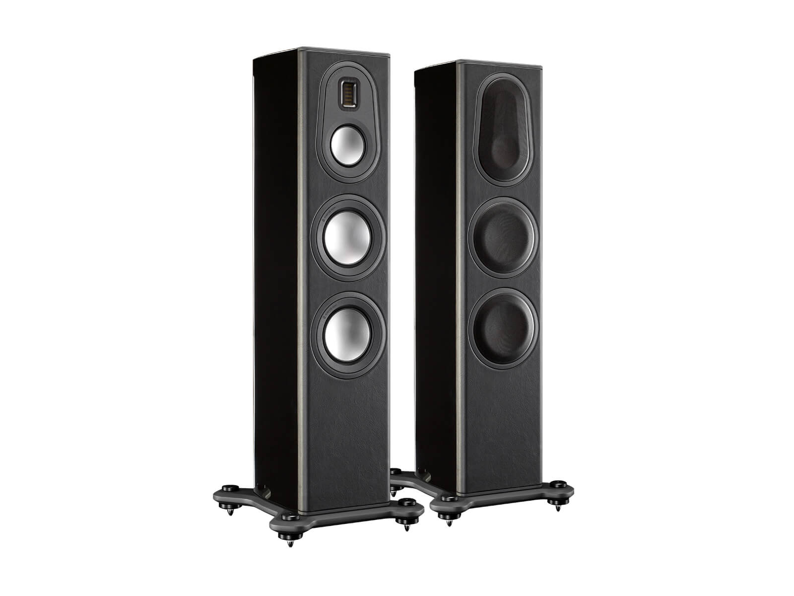 Platinum PL200 II, floorstanding speakers, featuring a grille and an ebony real wood veneer finish.
