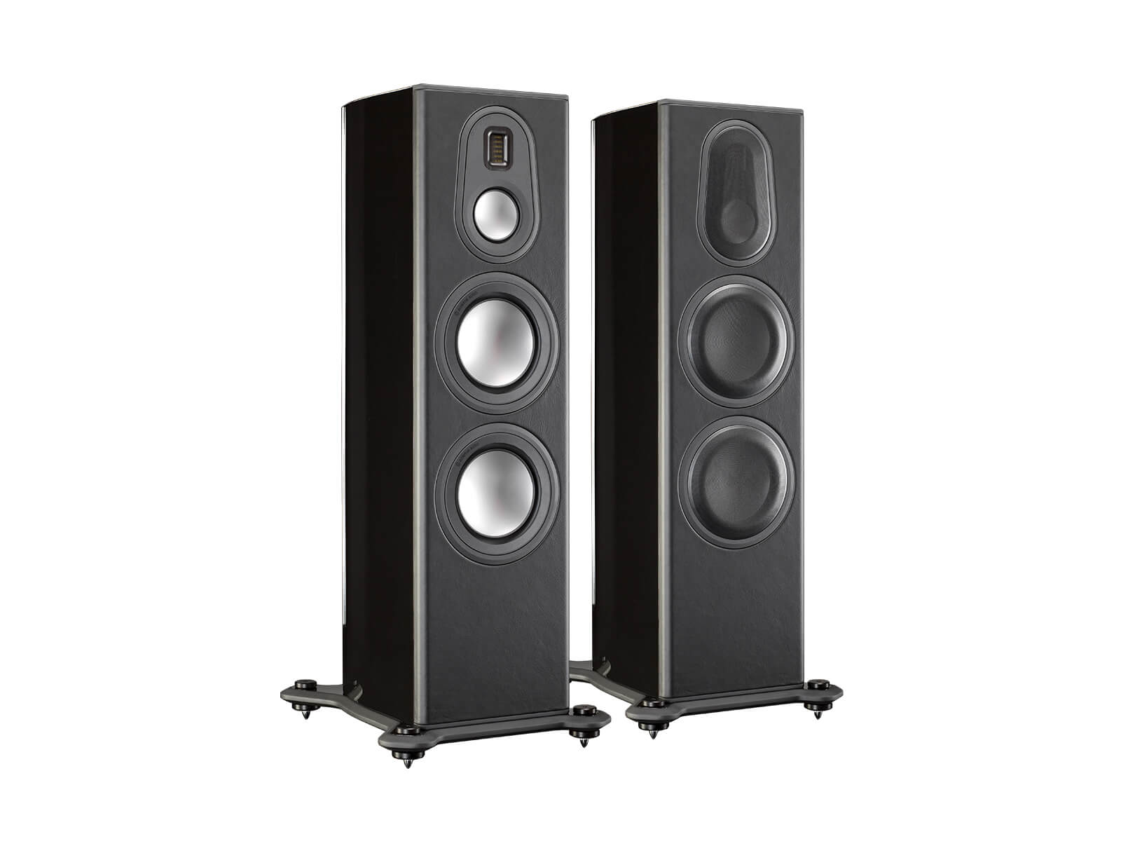 Platinum PL300 II, floorstanding speakers, featuring a grille and a piano black lacquer finish.