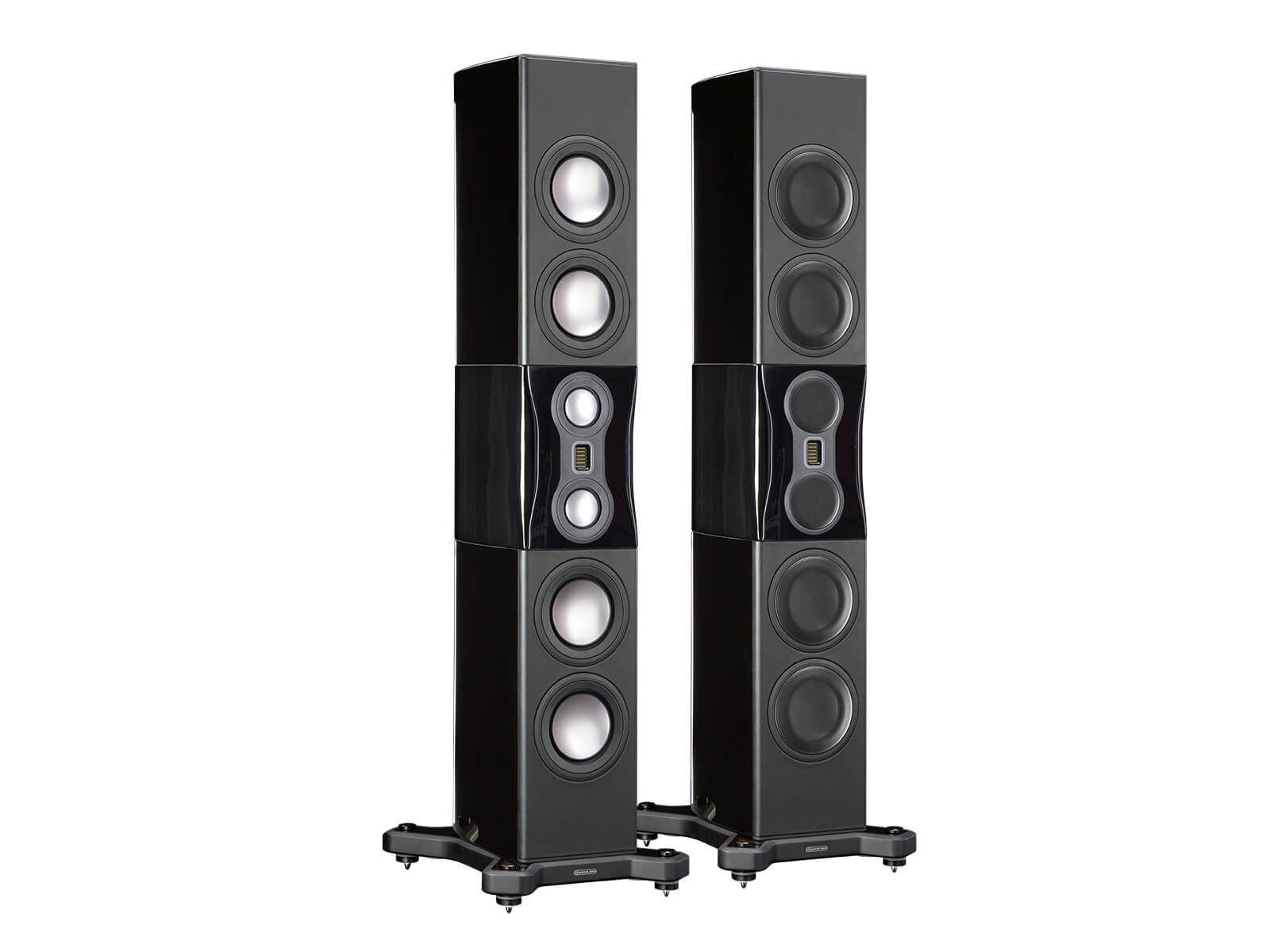 Platinum PL500 II, floorstanding speakers, featuring a grille and an ebony real wood veneer finish.