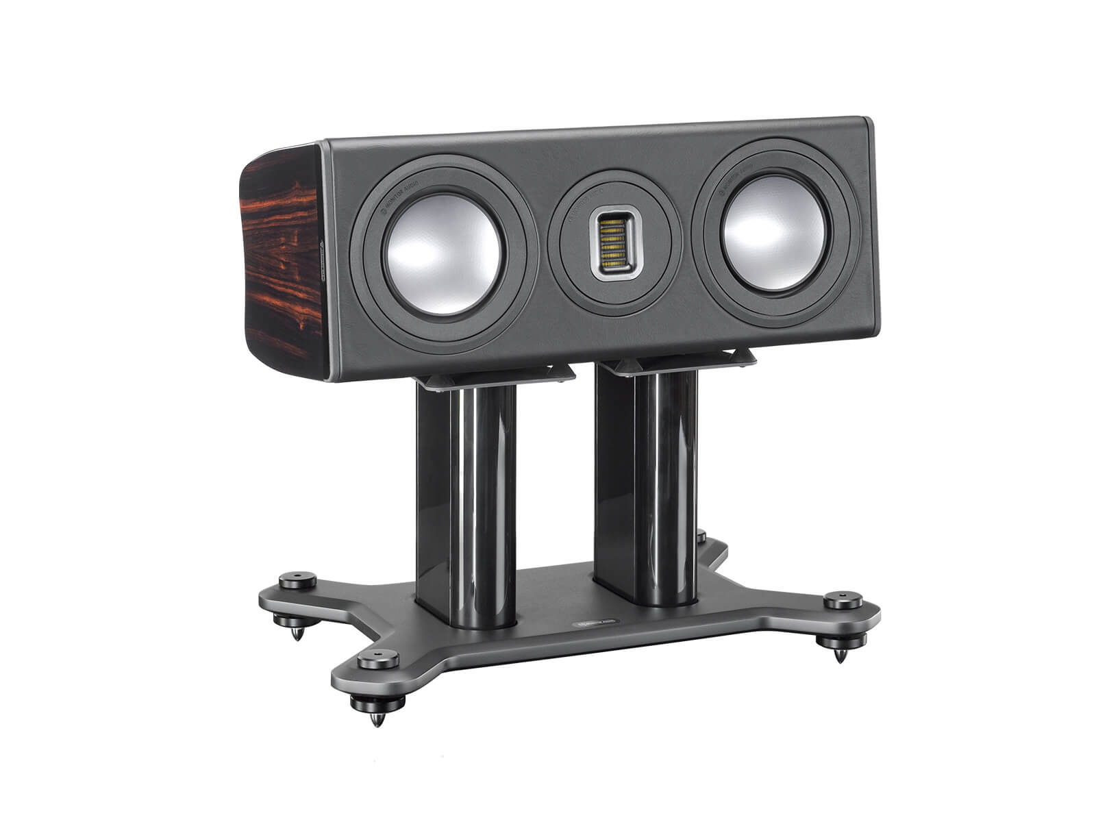 Platinum PLC150 II, centre channel speakers, featuring a grille and an ebony real wood veneer finish.