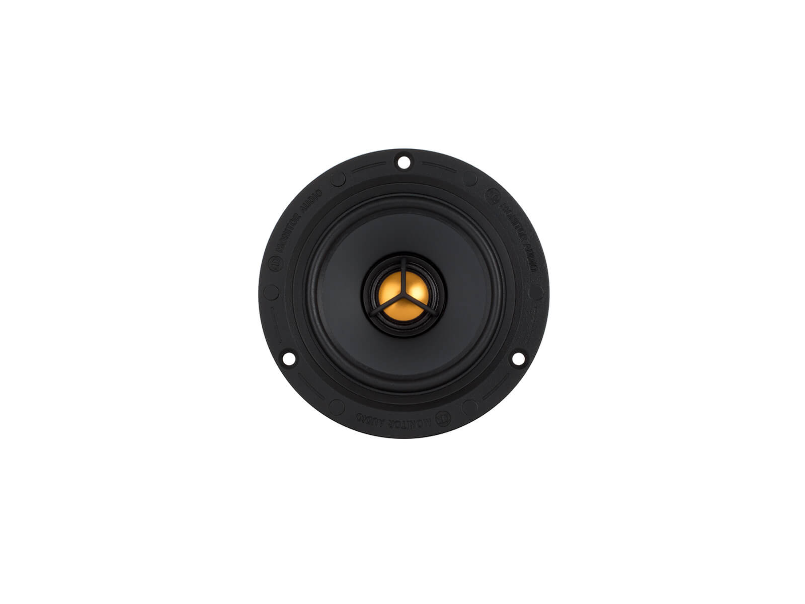Flush Fit CF230, front-on, grille-less in-ceiling speakers.