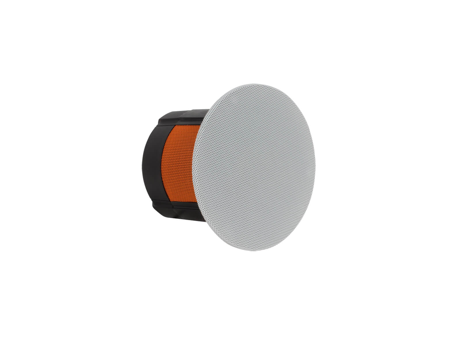 Flush Fit CF230, front ISO, in-ceiling speakers with a round grille