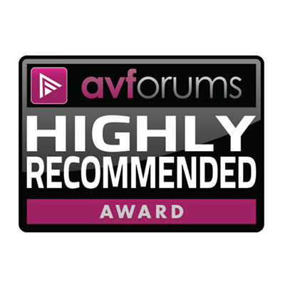 Image for product award - Silver 8 review: AV Forums 'Highly Recommended'