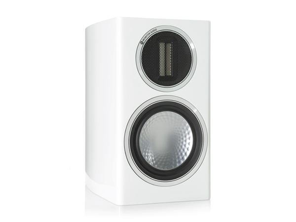 Gold 50, grille-less bookshelf speakers, with a high gloss white lacquer finish.