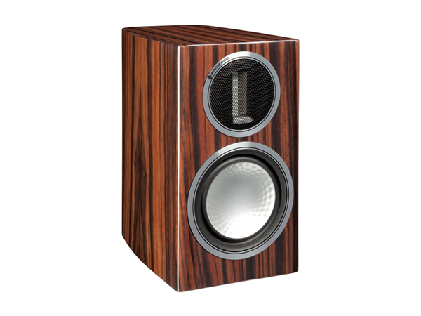 Gold 50, grille-less bookshelf speakers, with a piano ebony finish.