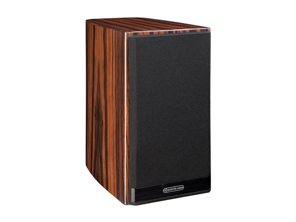 Gold 50, bookshelf speakers, featuring a grille and a piano ebony finish.