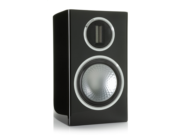 Gold 100, grille-less bookshelf speakers, with a piano black lacquer finish.