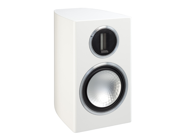Gold 100, grille-less bookshelf speakers, with a high gloss white lacquer finish.