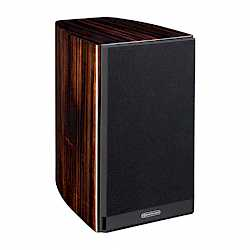 Gold 50, bookshelf speakers, featuring a grille and a piano ebony finish. - thumbnail