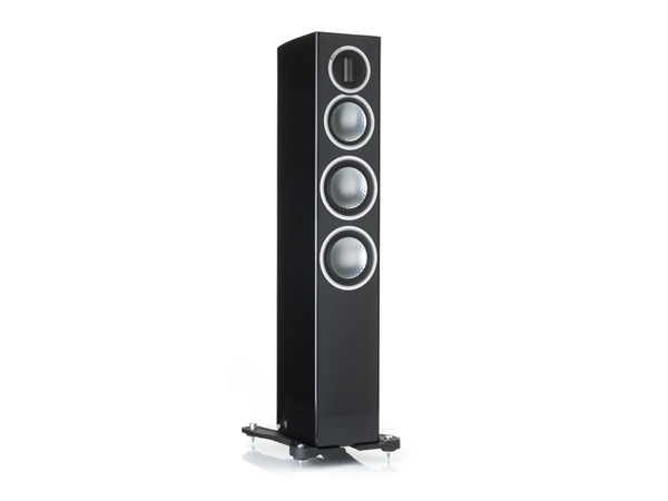 Gold 200, grille-less floorstanding speakers, with a piano black lacquer finish.