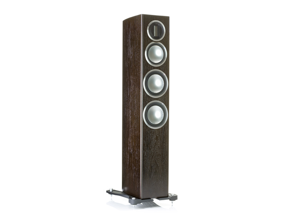Gold 200, grille-less floorstanding speakers, with a dark walnut real wood veneer finish.