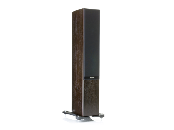 Gold 200, floorstanding speakers, featuring a grille and a dark walnut real wood veneer finish.