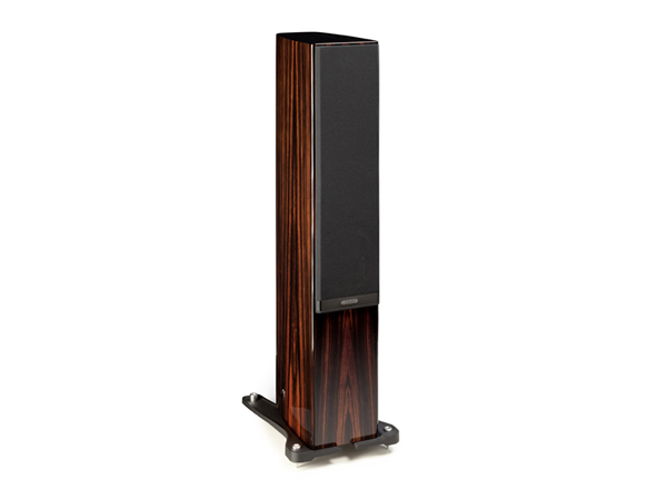 Gold 200, floorstanding speakers, featuring a grille and a piano ebony finish.