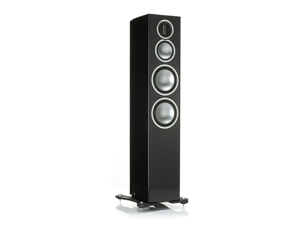 Gold 300, grille-less floorstanding speakers, with a piano black lacquer finish.