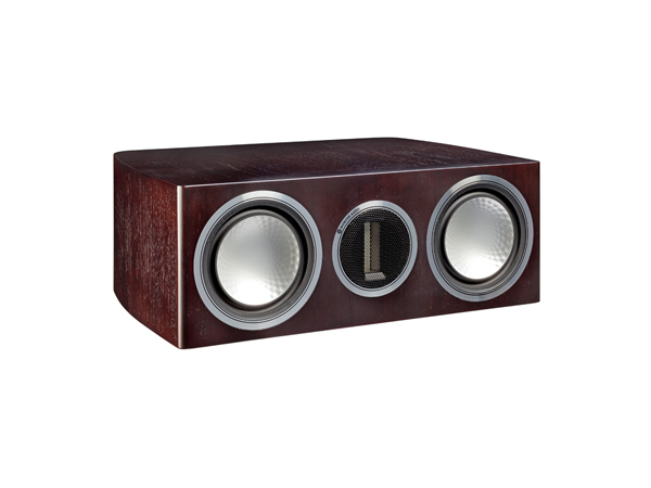 Gold C150, grille-less centre channel speakers, with a dark walnut real wood veneer finish.
