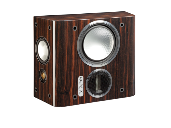 Gold FX, grille-less surround speakers, with a piano ebony finish.