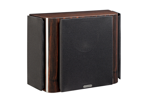 Gold FX, surround speakers, featuring a grille and a piano ebony finish.