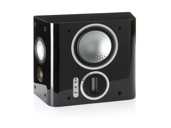 Gold FX, grille-less surround speakers, with a piano black lacquer finish.