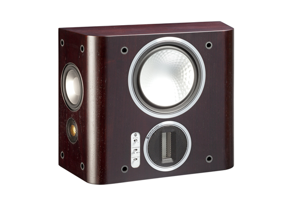 Gold FX, grille-less surround speakers, with a dark walnut real wood veneer finish.