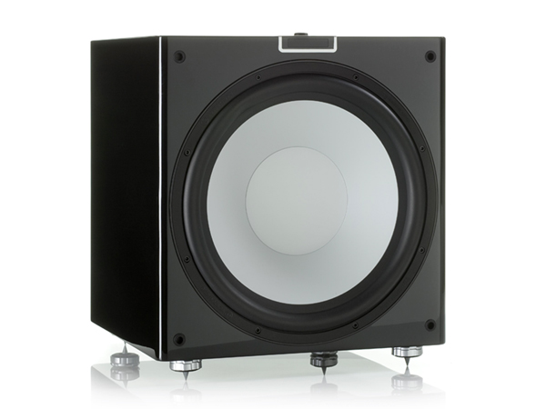 Gold W15 grille-less subwoofer, with a piano black lacquer finish.