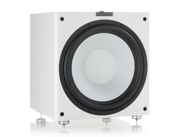Gold W15 grille-less subwoofer, with a high gloss white lacquer finish.