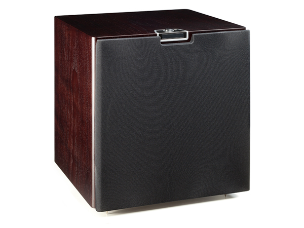 Gold W15 subwoofer, featuring a grille and a dark walnut real wood veneer finish.