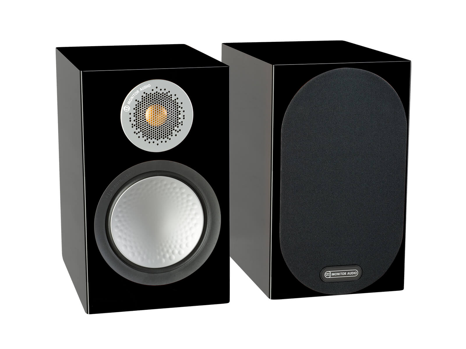 Silver 50, bookshelf speakers, with and without grille in a high gloss black finish.