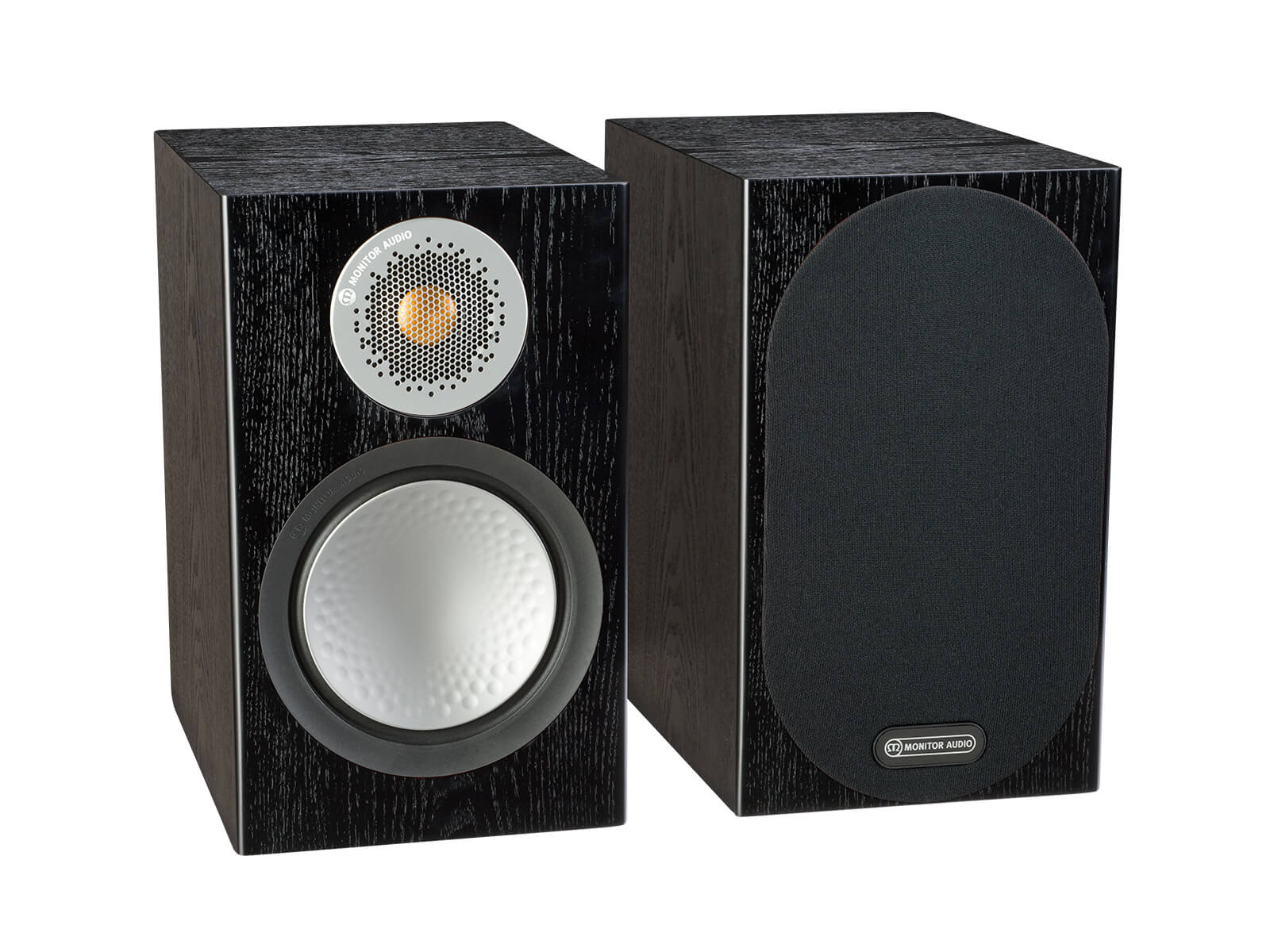 Silver 50, bookshelf speakers, with and without grille in a black oak finish.