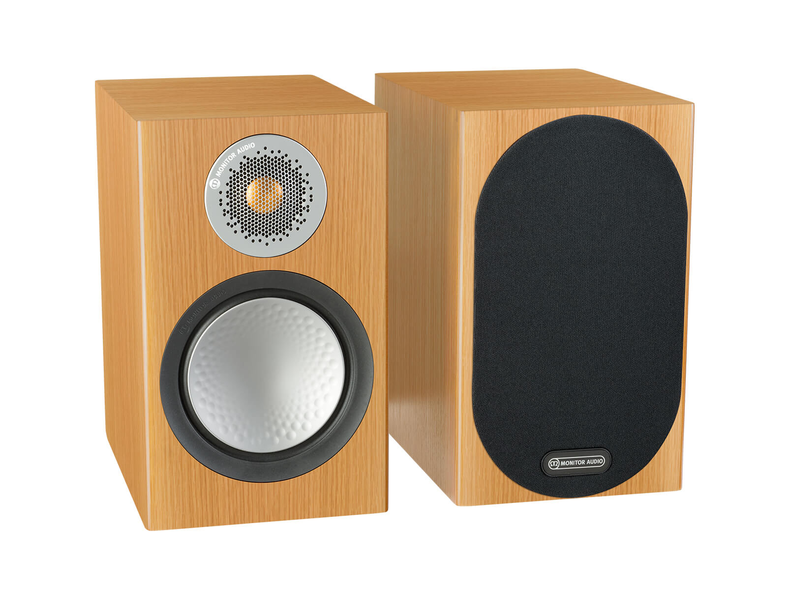 Silver 50, bookshelf speakers, with and without grille in a natural oak finish.