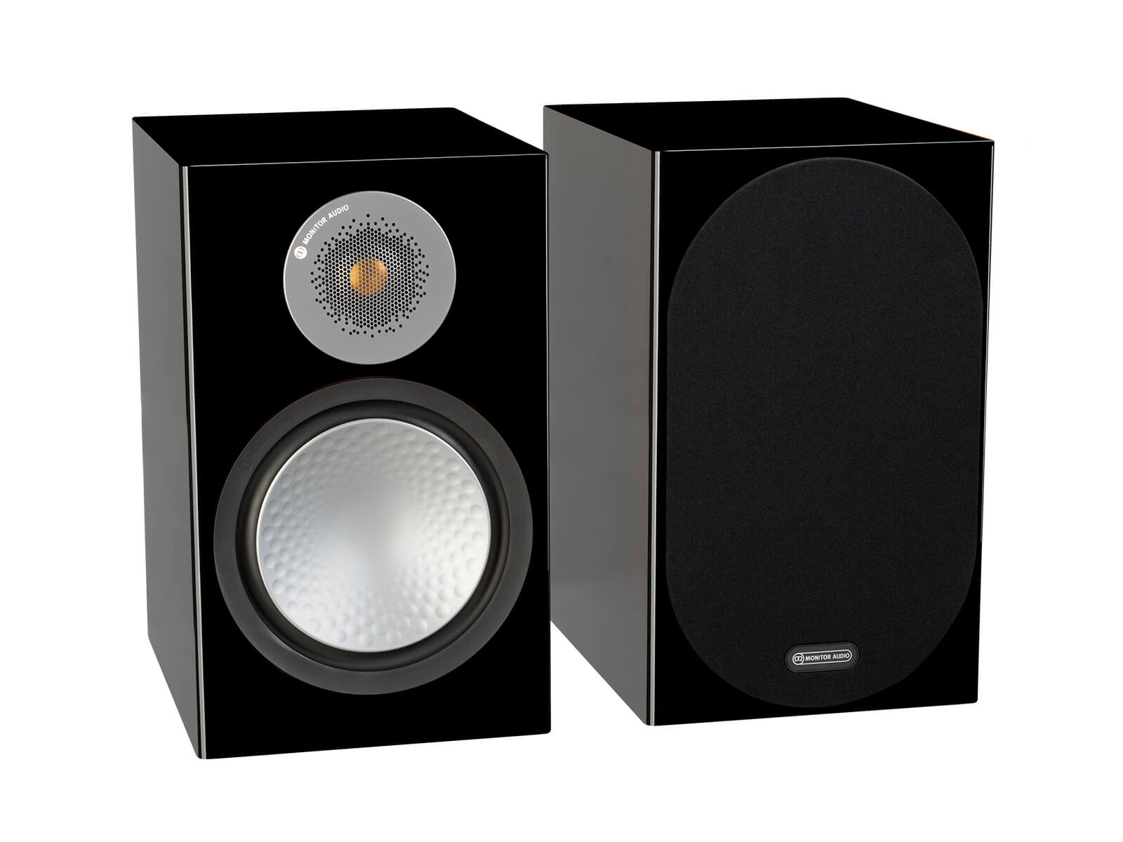 Silver 100, bookshelf speakers, with and without grille in a high gloss black finish.