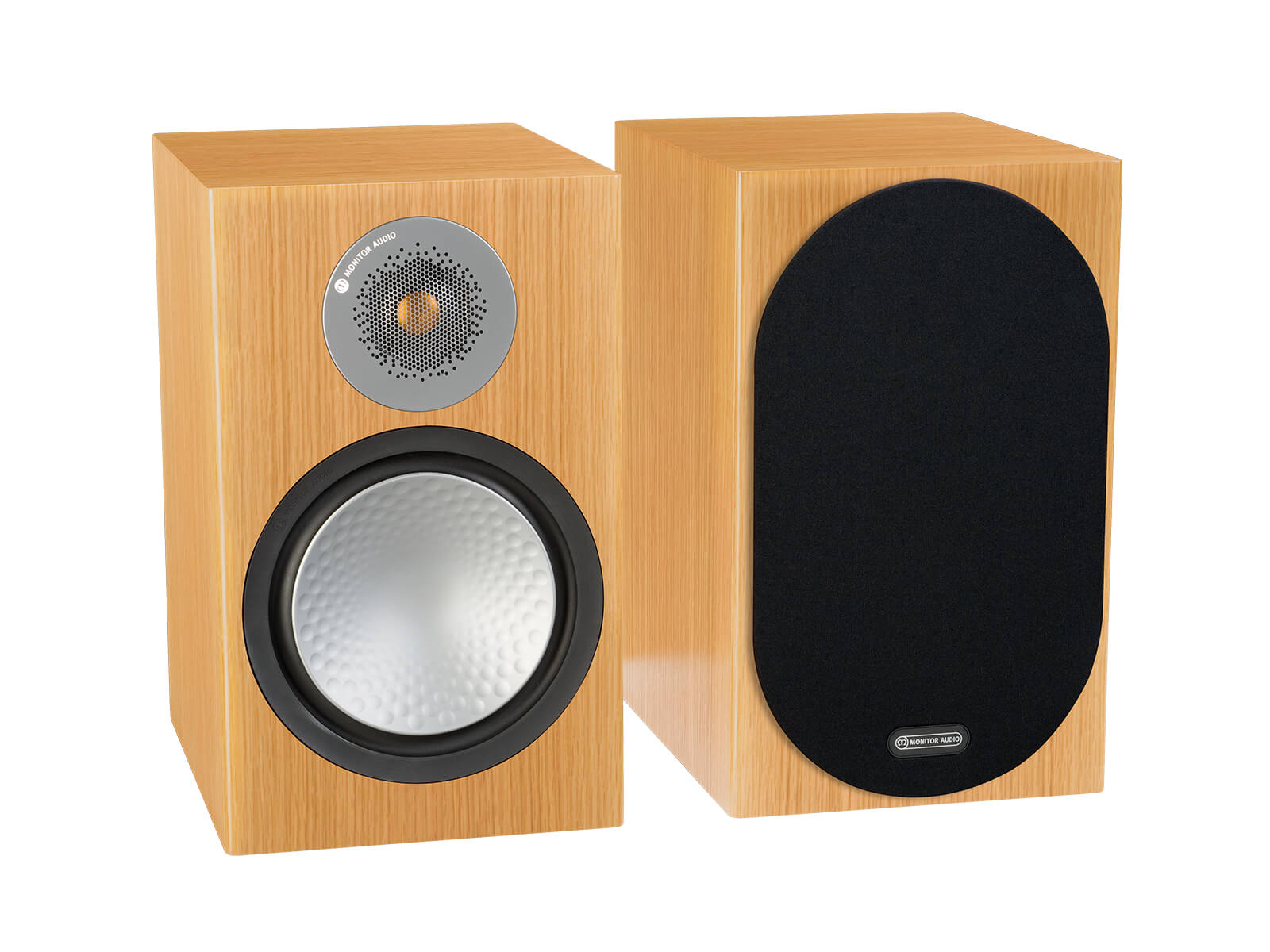 Silver 100, bookshelf speakers, with and without grille in a natural oak finish.