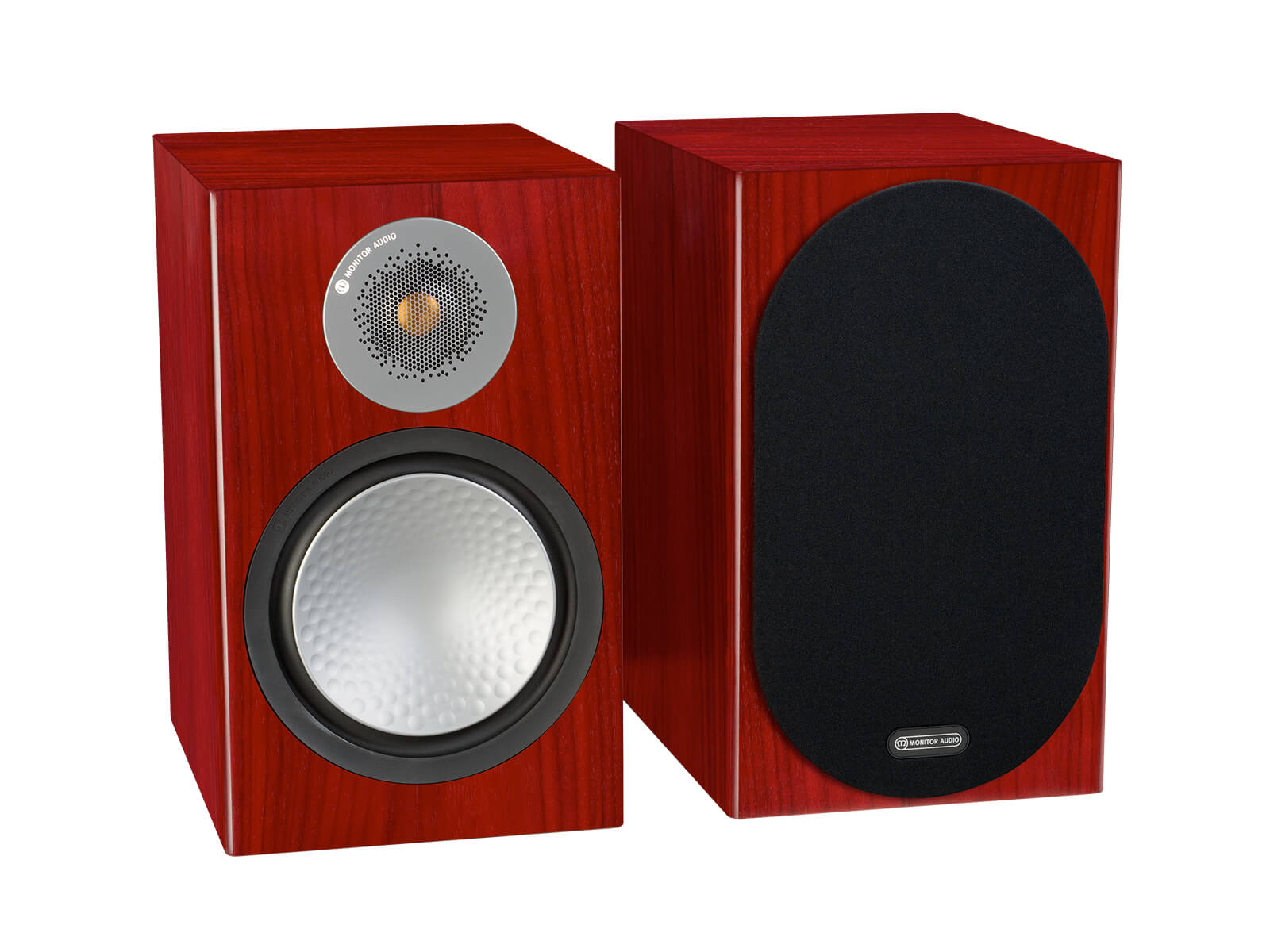 Silver 100, bookshelf speakers, with and without grille in a rosenut finish.