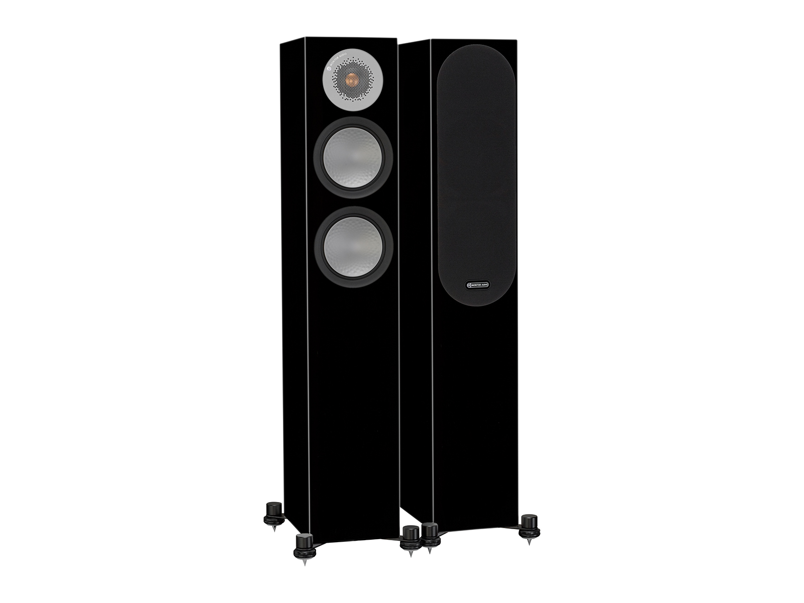 Silver 200, floorstanding speakers, with and without grille in a high gloss black finish.