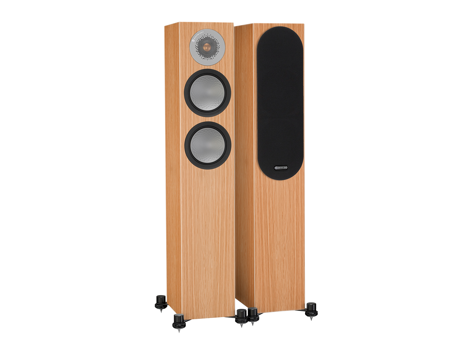 Silver 200, floorstanding speakers, with and without grille in a natural oak finish.