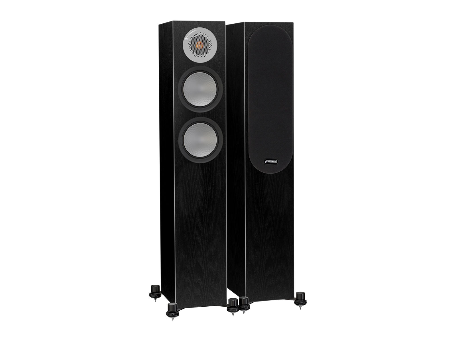 Silver 200, floorstanding speakers, with and without grille in a black oak finish.