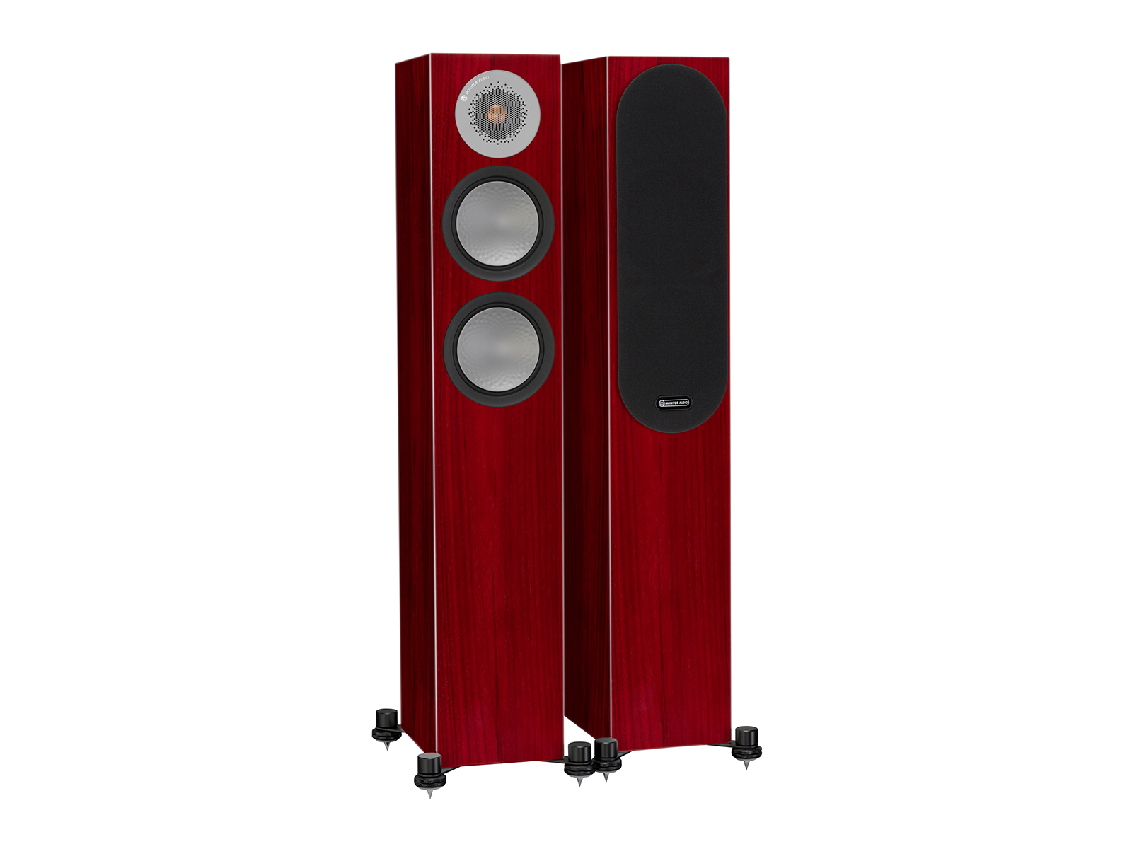 Silver 200, floorstanding speakers, with and without grille in a rosenut finish.