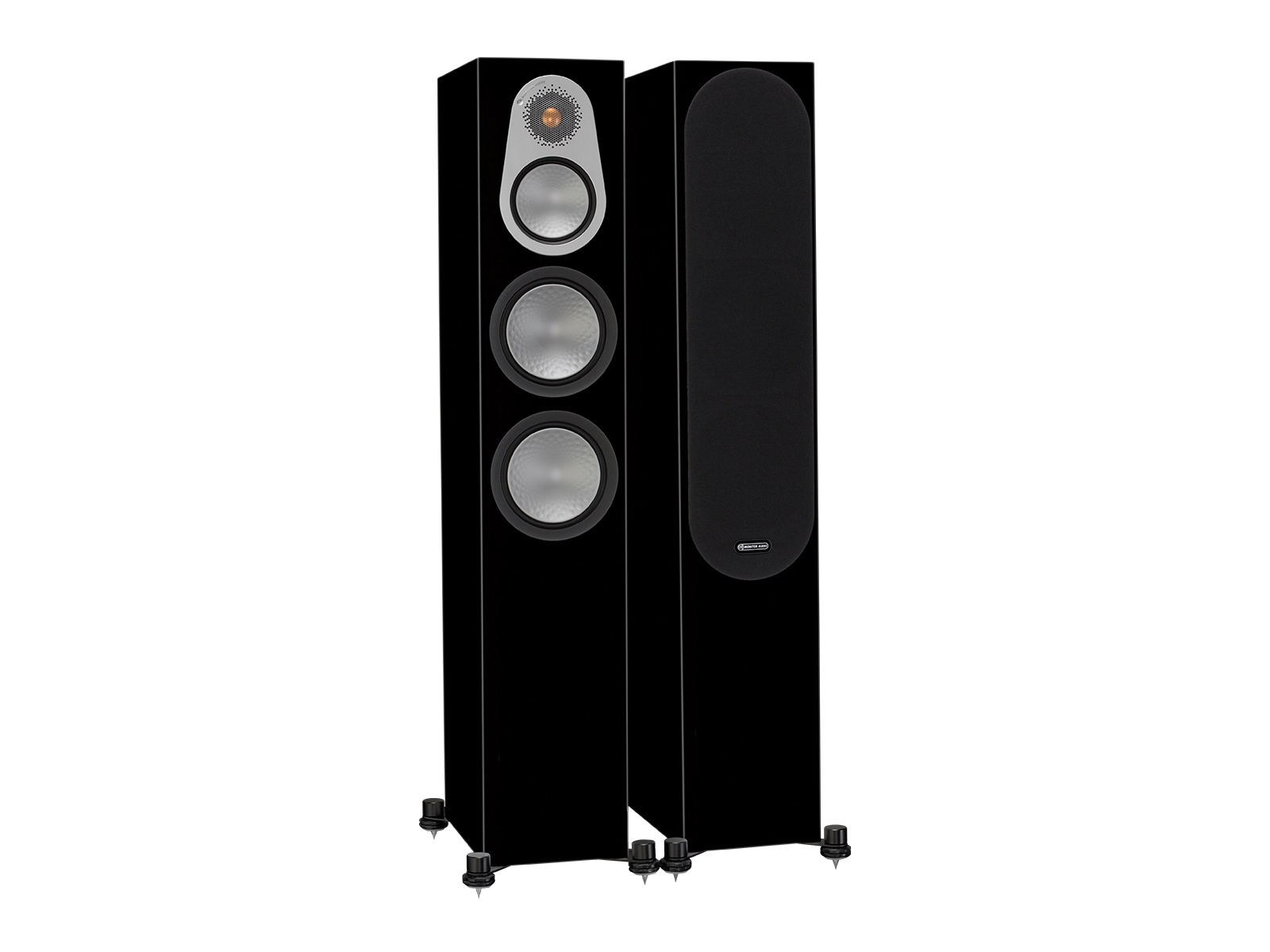 Silver 300, floorstanding speakers, with and without grille in a high gloss black finish.