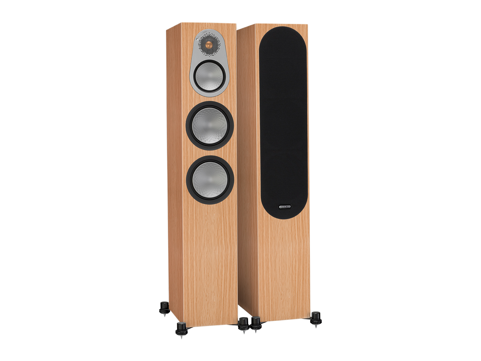 Silver 300, floorstanding speakers, with and without grille in a natural oak finish.