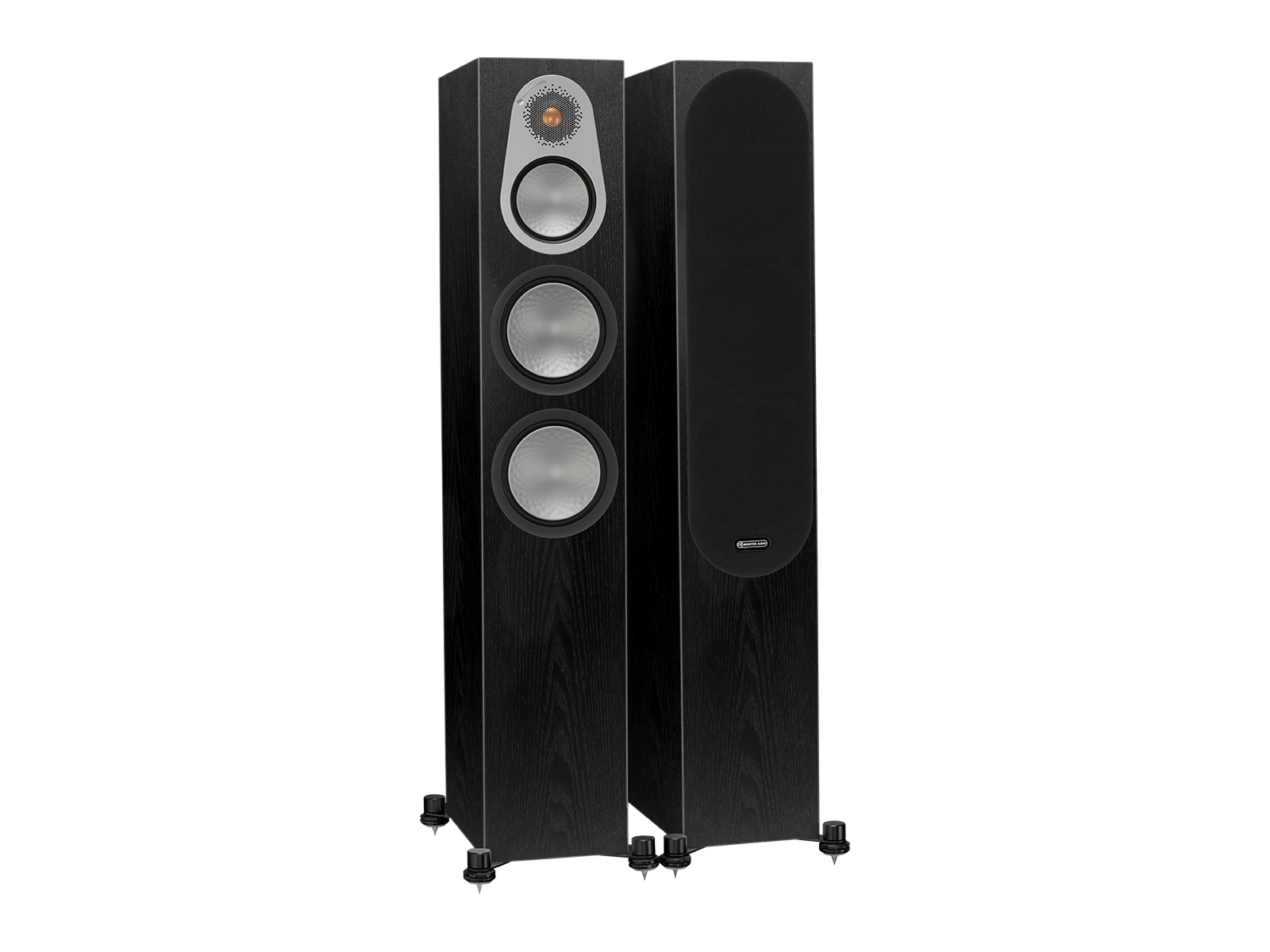 Silver 300, floorstanding speakers, with and without grille in a black oak finish.