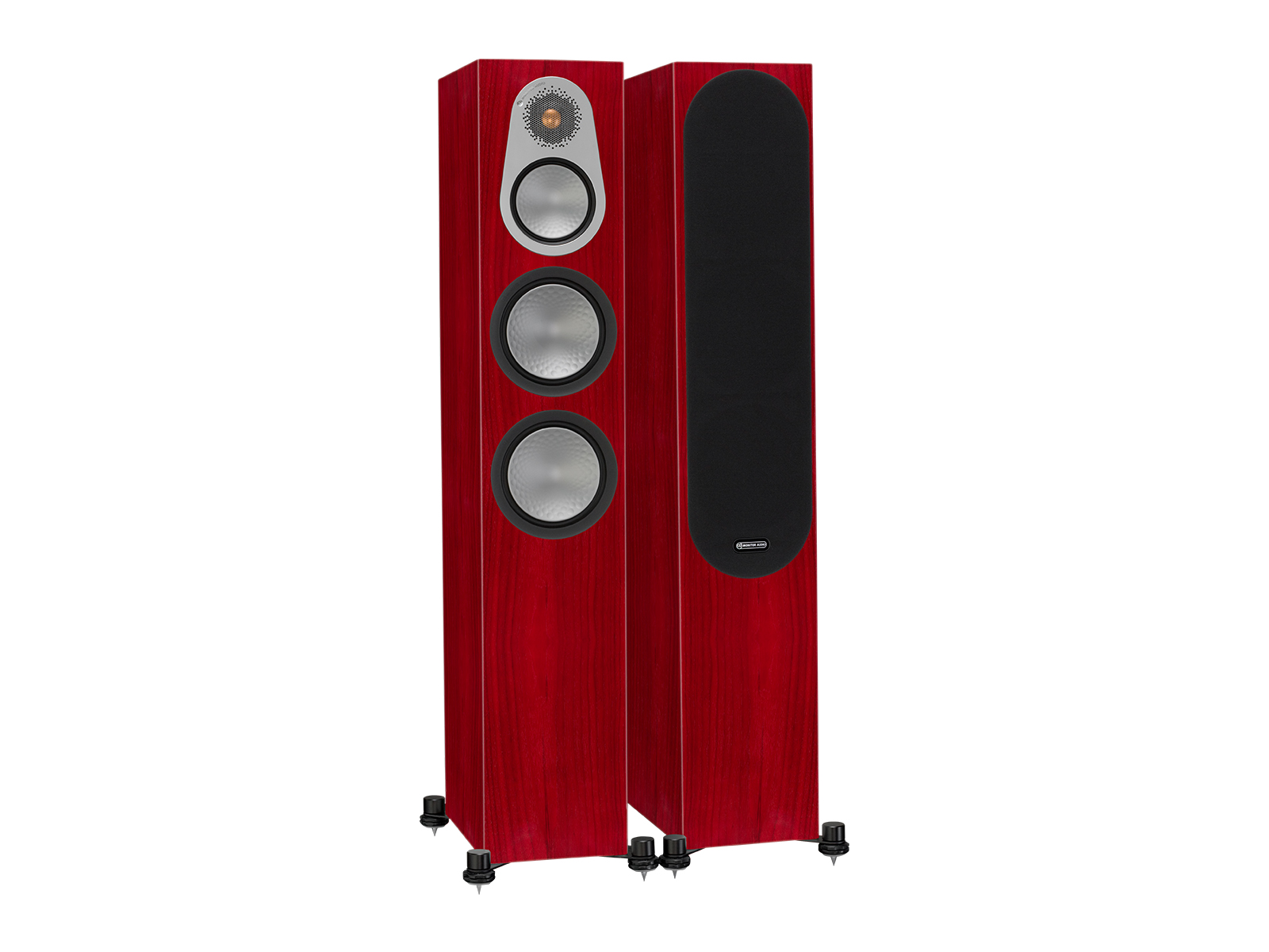 Silver 300, floorstanding speakers, with and without grille in a rosenut finish.