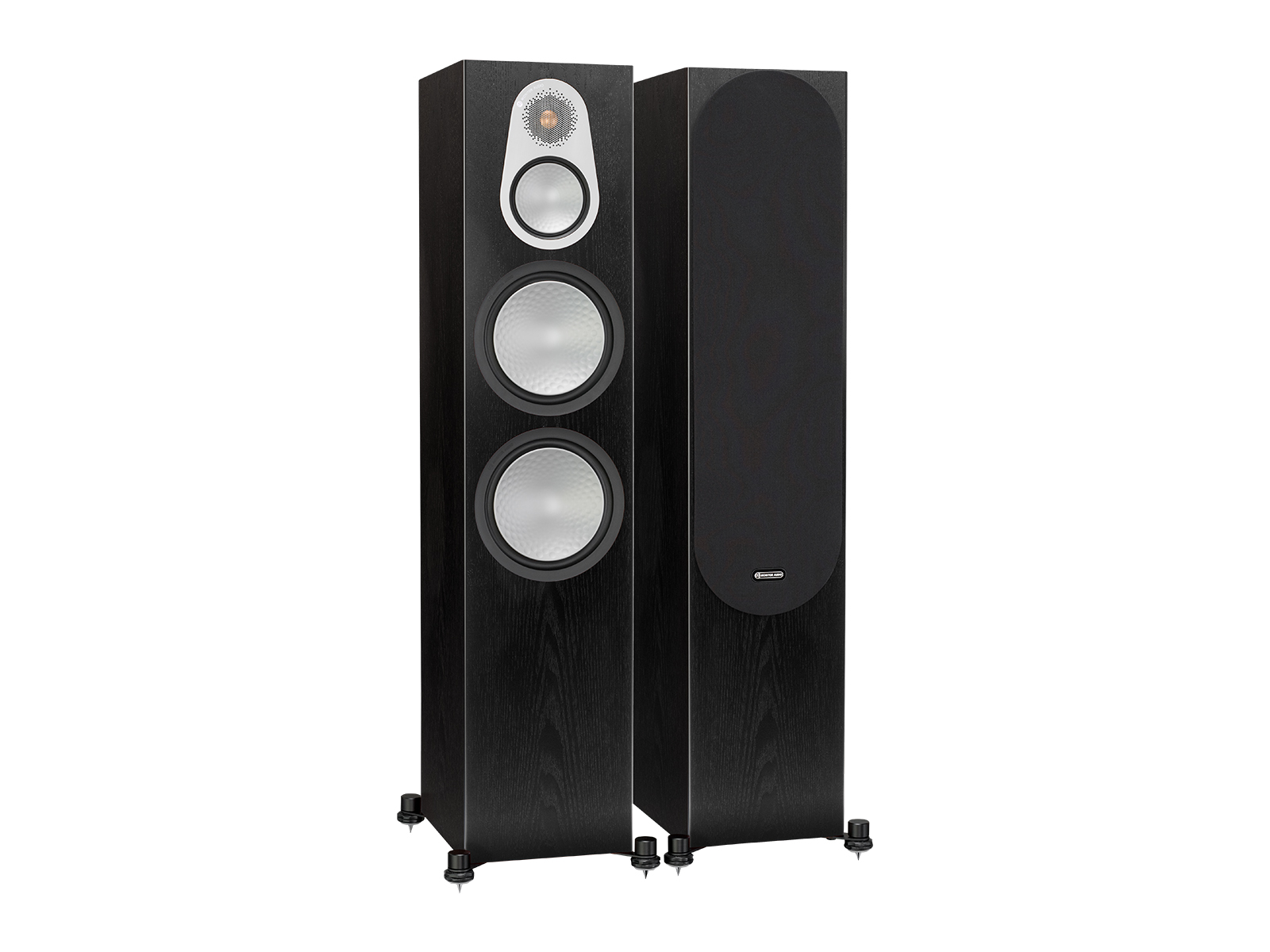 Silver 500, floorstanding speakers, with and without grille in a black oak finish.
