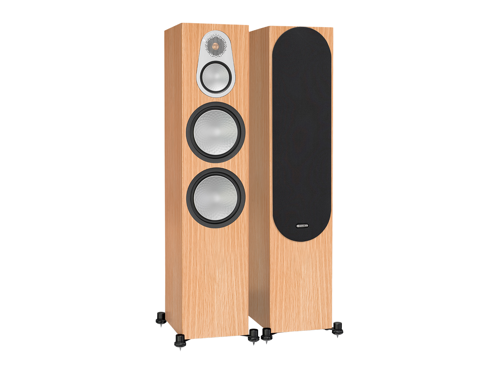 Silver 500, floorstanding speakers, with and without grille in a natural oak finish.