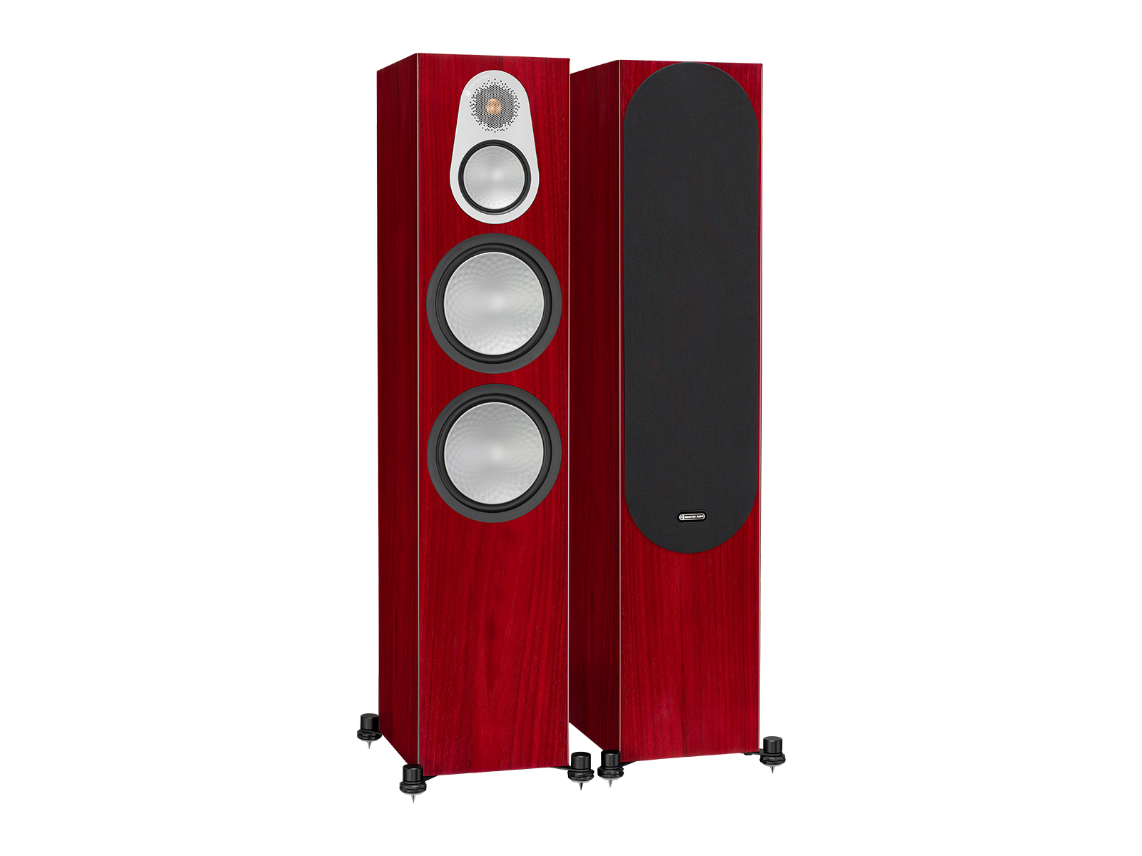 Silver 500, floorstanding speakers, with and without grille in a rosenut finish.