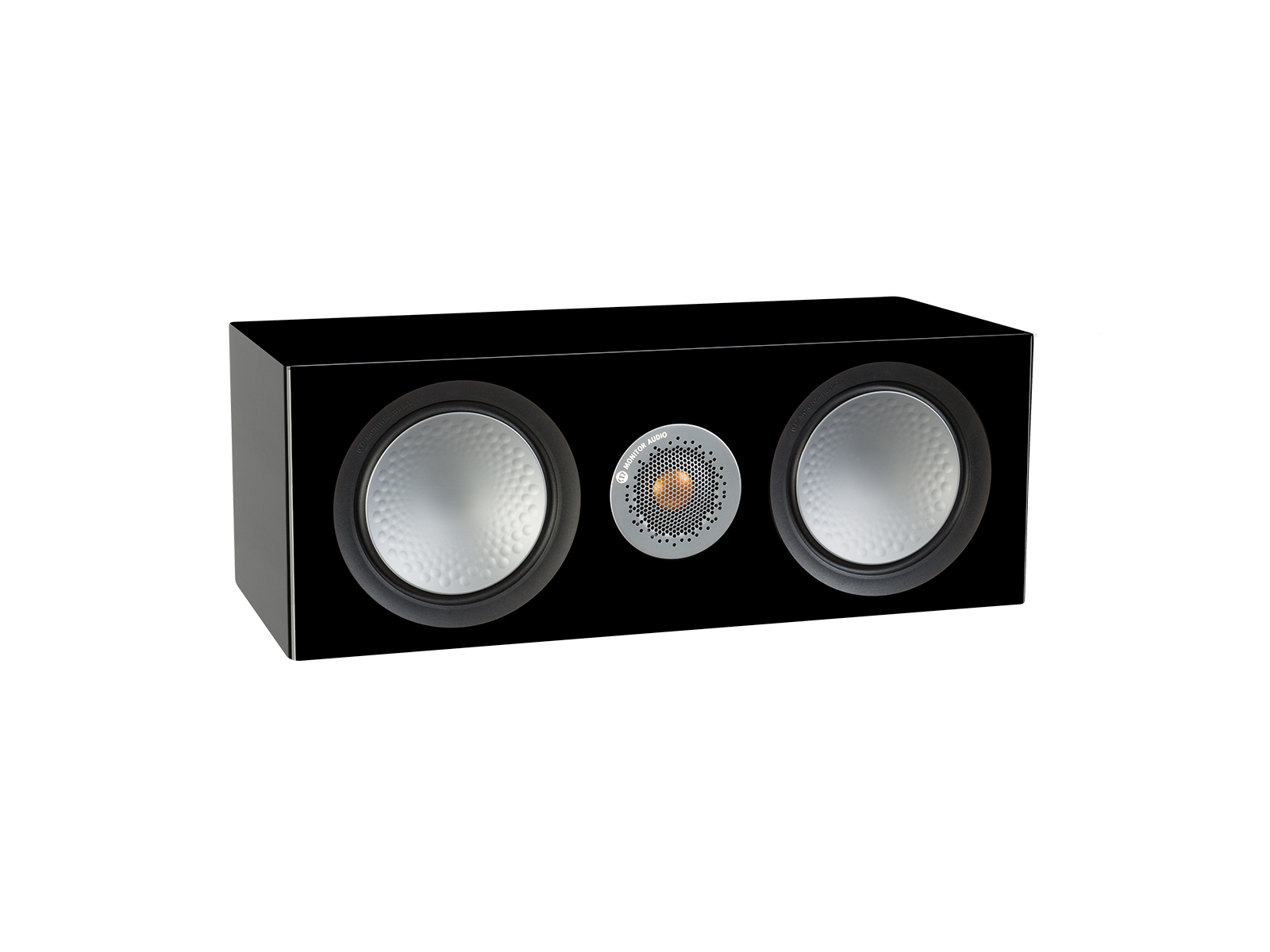Silver C150, grille-less centre channel speakers, with a high gloss black finish.