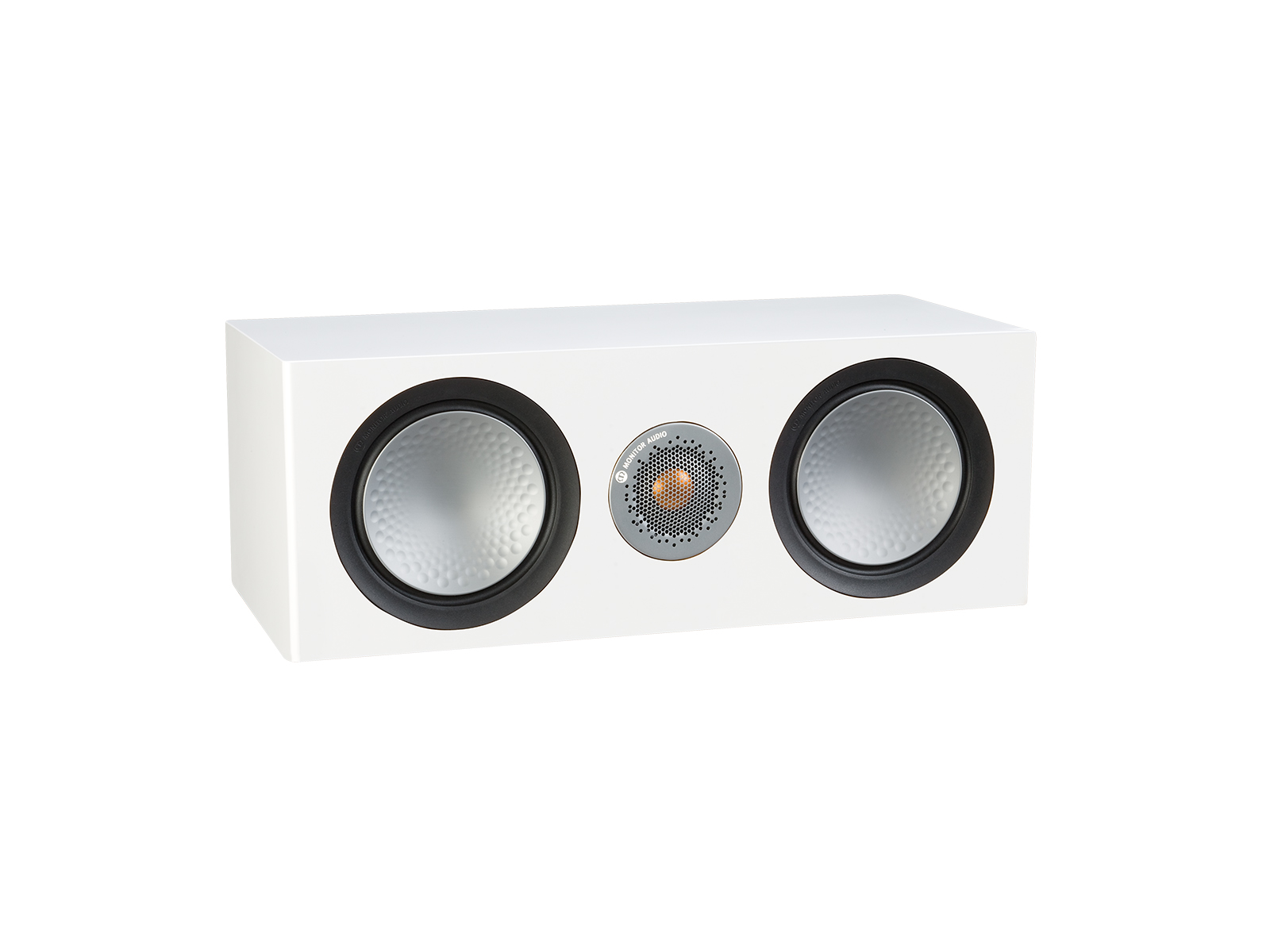 Silver C150, grille-less centre channel speakers, with a satin white finish.