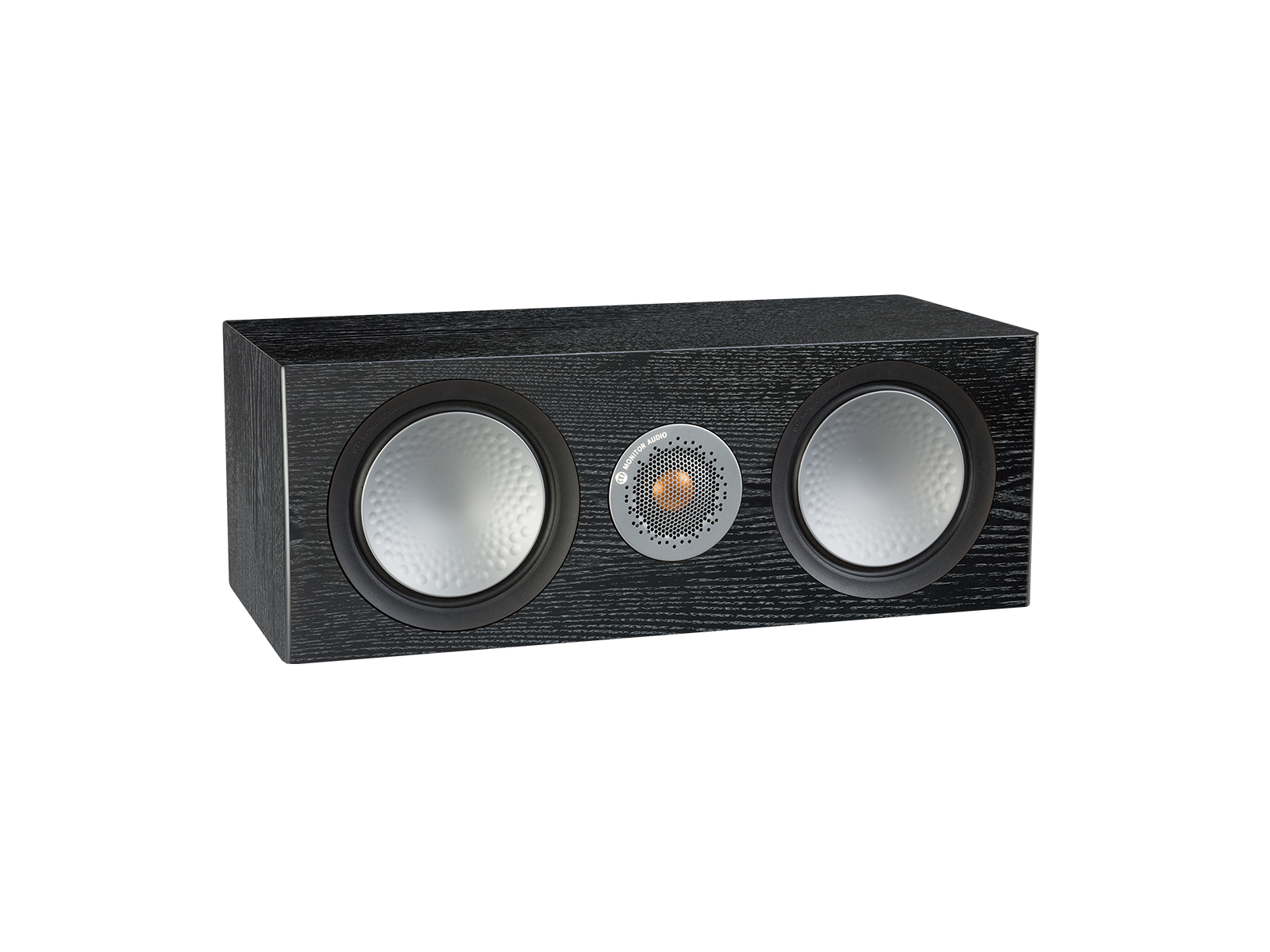 Silver C150, grille-less centre channel speakers, with a black oak finish.