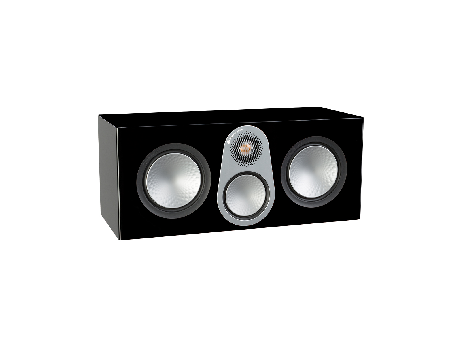 Silver C350, grille-less centre channel speakers, with a high gloss black finish.