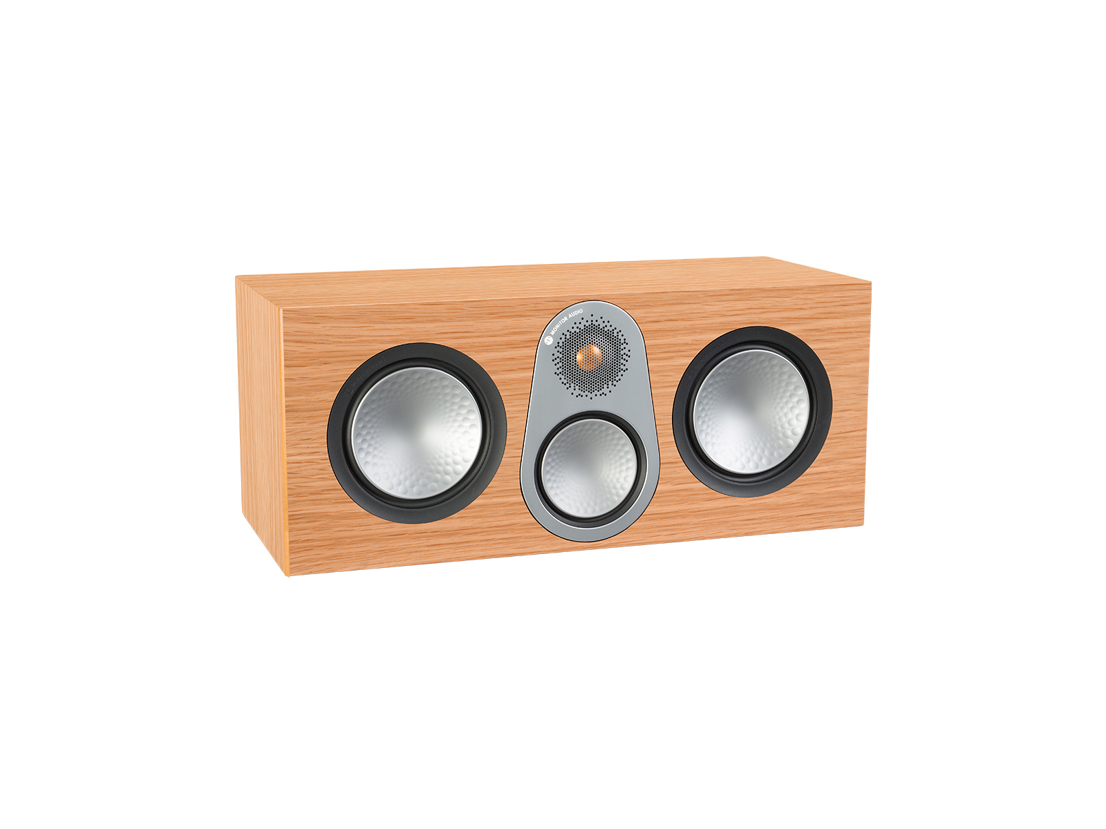 Silver C350, grille-less centre channel speakers, with a natural oak finish.