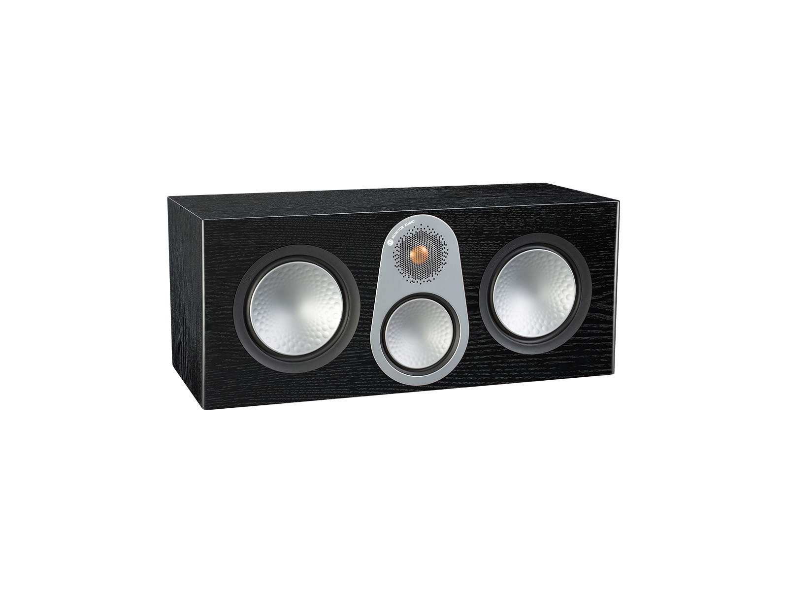 Silver C350, grille-less centre channel speakers, with a black oak finish.