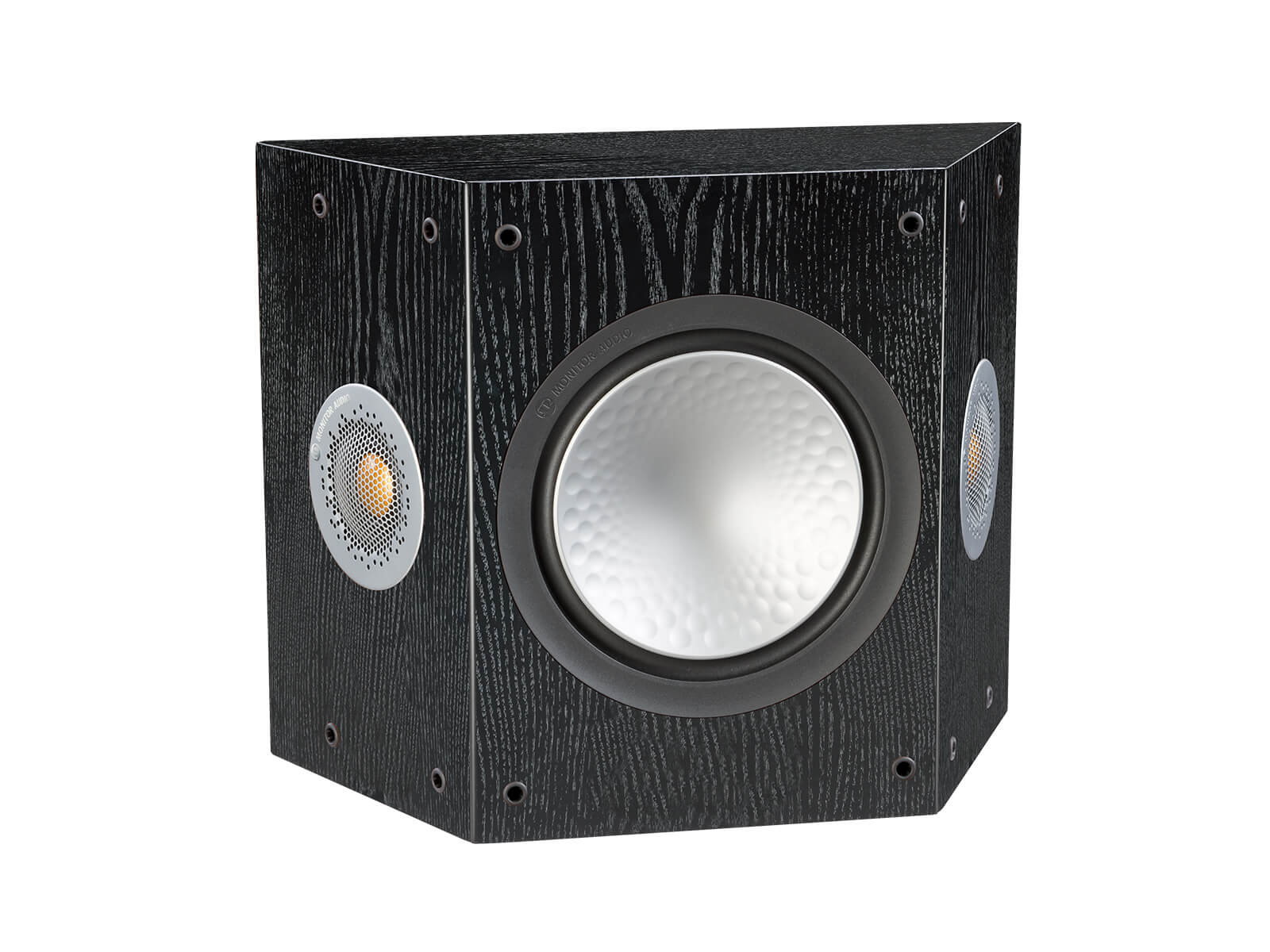Silver FX, grille-less surround speakers, with a black oak finish.